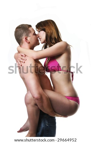 sport couple Kissing - stock photo