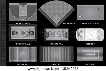 Sport courts - stock photo