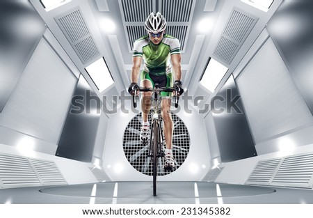 Sport. Cyclist has a traning in the wind tunnel - stock photo