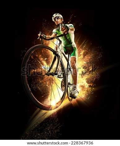 Sport. Cyclist isolated.  - stock photo