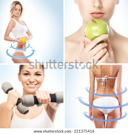Sport, dieting, fitness and healthy eating collage - stock photo