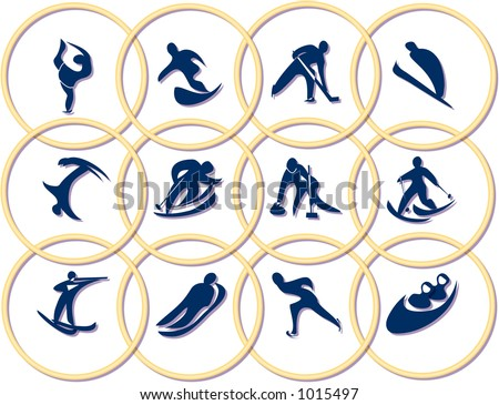 sport emblems (winter olympic games) - stock photo