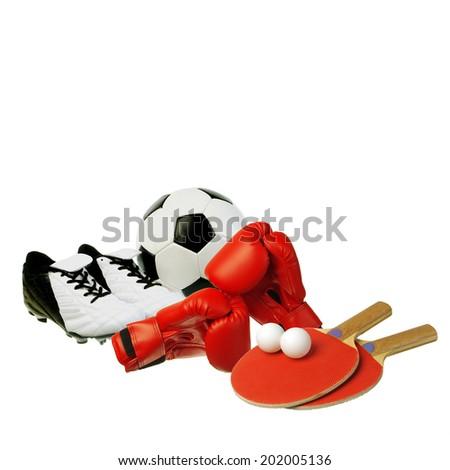 Sport equipment. Football boots, ball, boxing gloves,rackets - stock photo