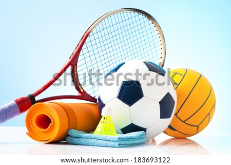 sport equipment isolated on white  - stock photo
