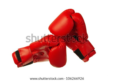 Sport   equipment. Red boxing gloves. White background