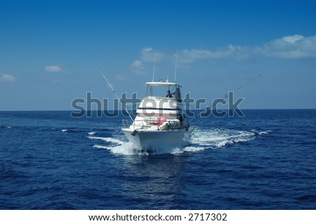 Sport Fishing Boat ready for game fishing - stock photo