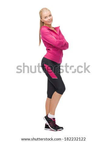 sport, fitness and dieting concept - beautiful sporty woman - stock photo