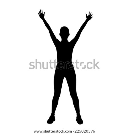 sport fitness woman exercise workout silhouettes, black girl isolated over white background - stock photo