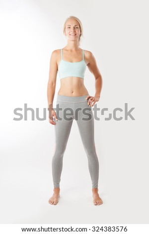 Sport fitness woman on the isolated over white background. - stock photo