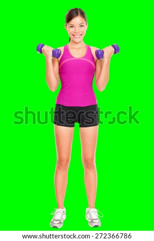 Sport fitness woman standing in full body. Fitness instructor standing holding dumbbell hand weights isolated cutout on green chroma key background. Young mixed race Asian Caucasian female model.