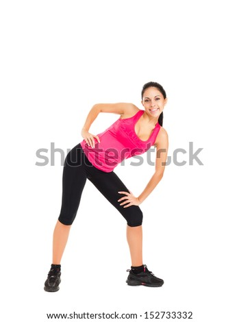 sport fitness woman, young healthy girl doing bending stretching exercises, full length portrait isolated over white background