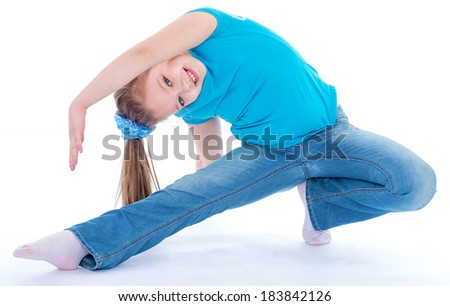 Sport,girl,child and kid - girl gymnast on a white background