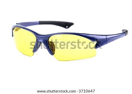 sport glasses with yellow interchangeable lens isolated on white - stock photo
