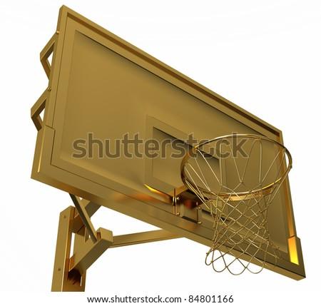 Sport: golden basketball backboard isolated over white background - stock photo