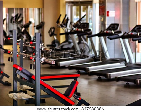 Sport gym interior with treadmill equipment. - stock photo