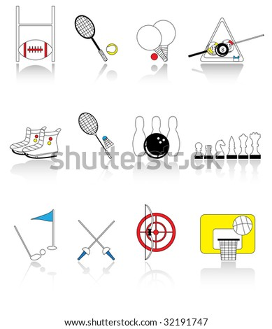 sport icons,the shadow and the icons are set on different layer - stock photo
