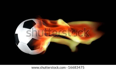 Sport illustration concept,football surrounded by flames - stock photo