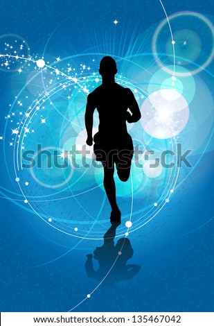 Sport illustration. Running people - stock photo