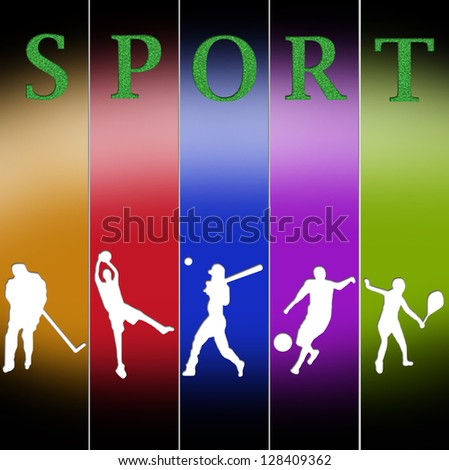 sport illustrations in different colors poses - stock photo