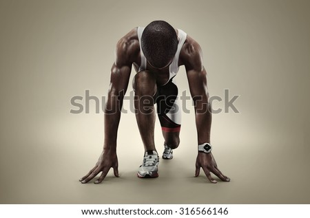 Sport. Isolated Athlete runner. Silhouette - stock photo
