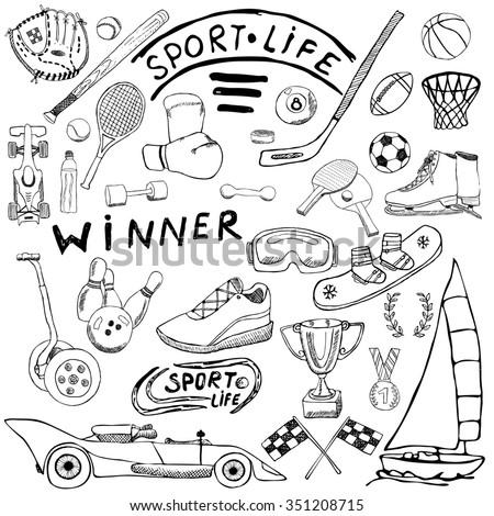 sport life sketch doodles elements hand drawn set with baseball bat glove bowling