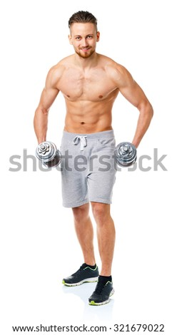 Sport man with dumbbells on the white background