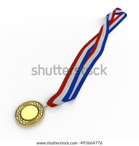 sport medal from gold on white. 3D illustration