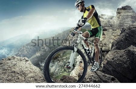 Sport. Mountain Bike cyclist riding single track  - stock photo