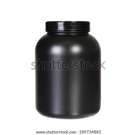 Sport Nutrition, Whey Protein or Gainer. Black Plastic Jar isolated on white. - stock photo