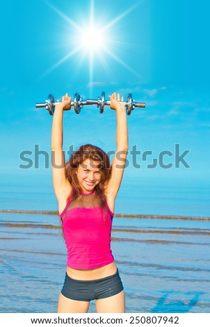 Sport Outdoors Workout on a Beach  - stock photo