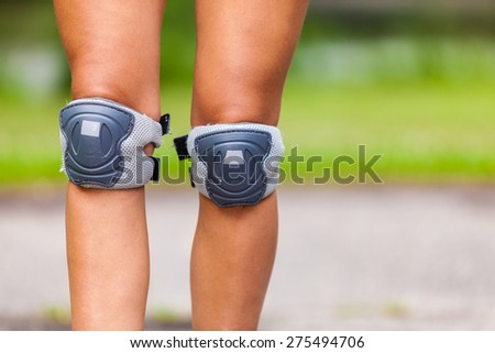 Sport protection and recreation. Outdoor activities. Sportswear roller skating rollerblading.  - stock photo