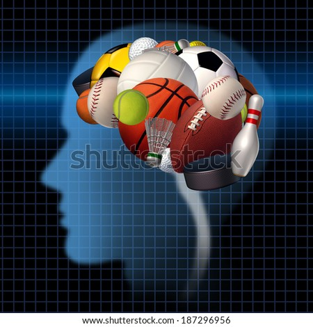 Sport psychology concept as a group of sports equipment shaped as a human brain as a mental health symbol for psychological science to improve performance in athletes for competitive anxiety. - stock photo