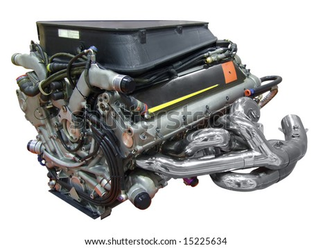 sport racing car v10 engine isolated - stock photo