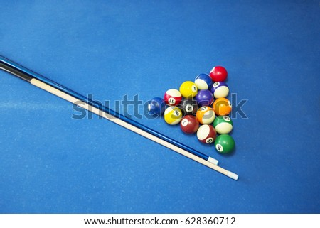sport recreation game competition playing billiard billiards balls an cue on