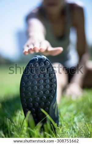 Sport. Runner in morning park - stock photo