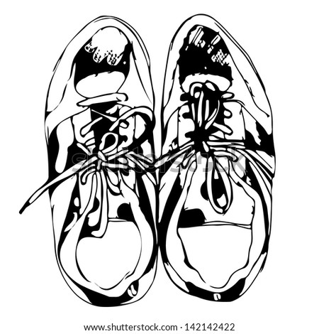 Sport shoes freehand sketch in black and white background. Raster version, editable vector file also available at my port. - stock photo