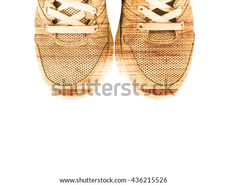 Sport shoes  in retro style isolated on white background. - stock photo