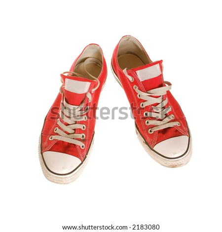 sport shoes isolated, clipping path - stock photo