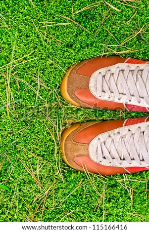 sport shoes on a green grass. concept - stock photo