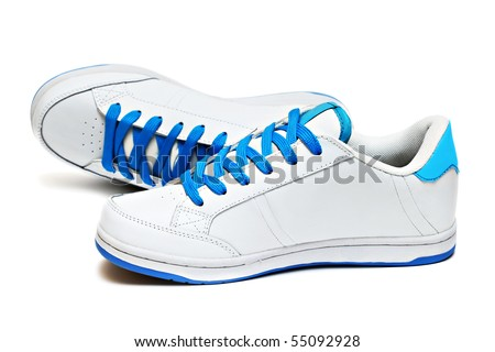 Sport shoes pair isolated on white background - stock photo