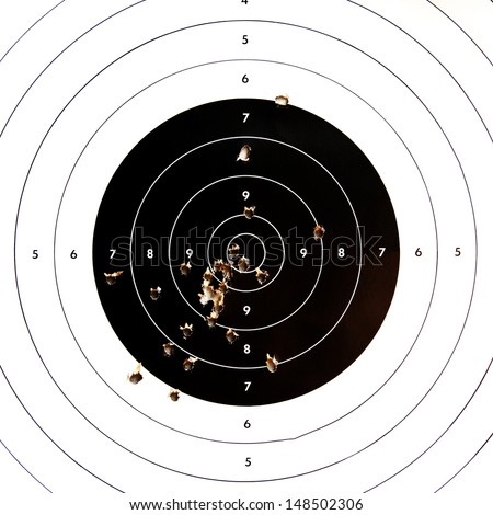 Sport shooting circle target accuracy bullet hole