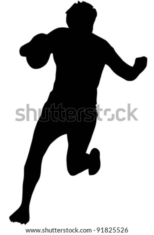 Sport Silhouette - Rugby Runner Blocking isolated black image on white background