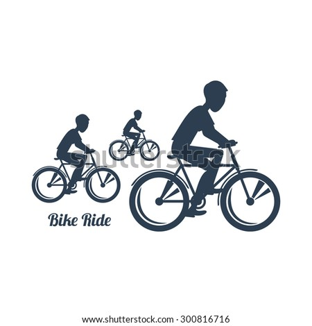 Sport silhouettes icon in black color on white background with text Bike Ride. Teenagers riding bicycles. For web construction, mobile applications, banners, brochures, books, layouts. Raster version