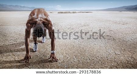 Sport. Starting runner. - stock photo