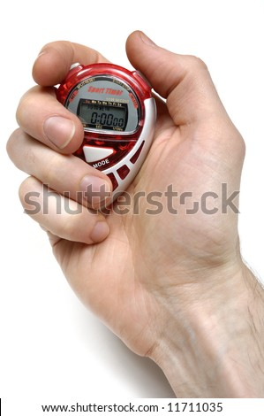 Sport Timer Stop watch in a hand Isolated on white background