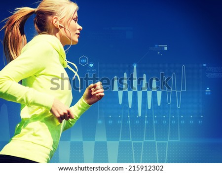 sport, training, technology, fitness and lifestyle concept - woman doing running with earphones outdoors - stock photo