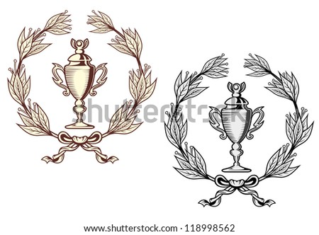 Sport trophy with laurel wreath in retro style. Vector version also available in gallery - stock photo