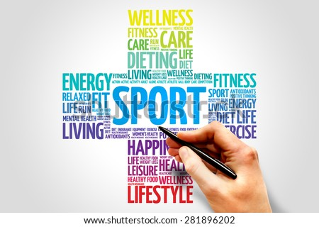 SPORT word cloud, health cross concept - stock photo