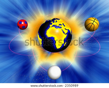 Sport world,earth surrounded by sport balls with athom trajectories and light rays background - stock photo