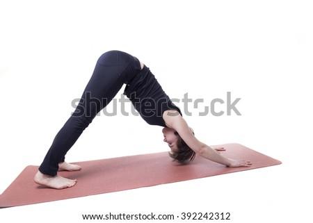 sport yoga woman isolated - stock photo